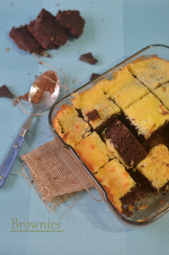 Coconut Milk Brownies, with creamy coconuty spread