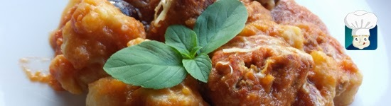 Nhoque de batata doce + molho de tomate caseiro + almôndegas
