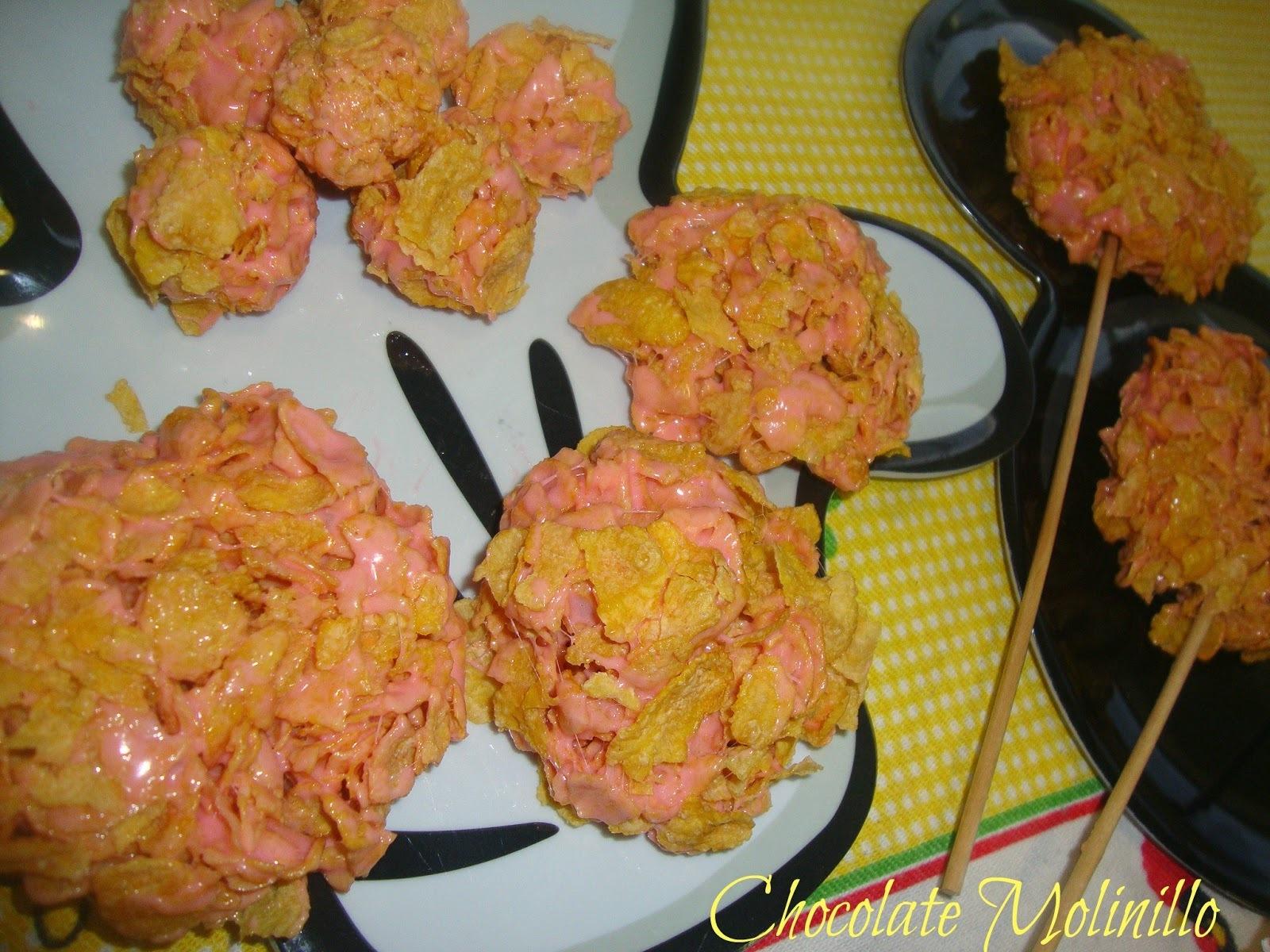 Paletas y Mini Bites de Bombón y Cereal