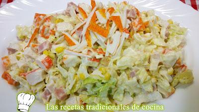 Receta de ensalada de palitos de cangrejo