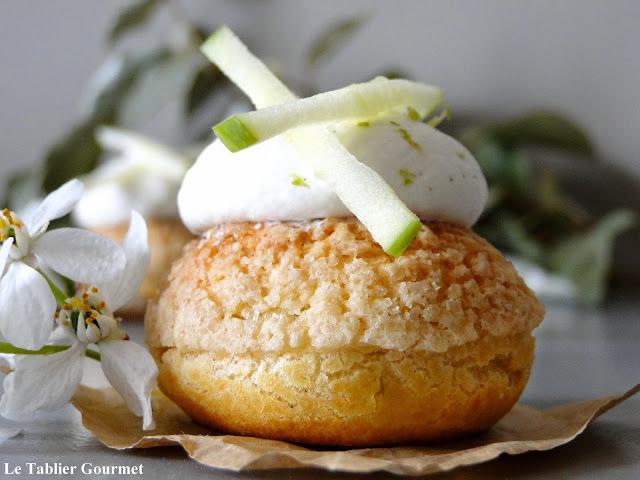 Les choux pommes tatin de Michalak (choux craquelin, compote de pomme au caramel et chantilly vanille) !