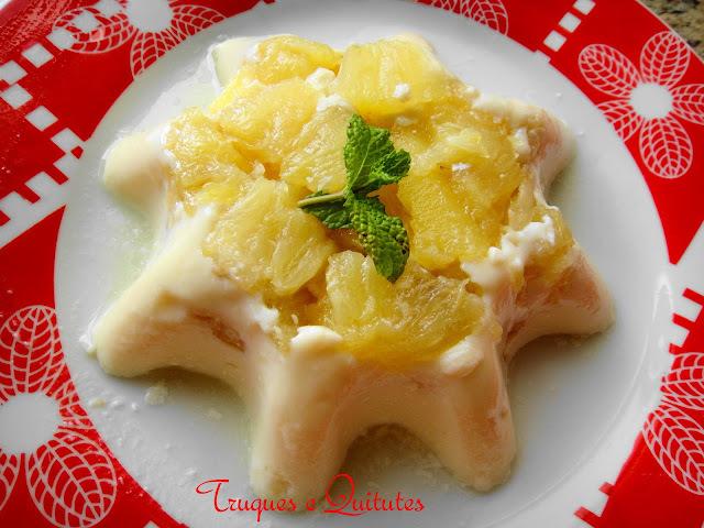 Pudim de abacaxi com iogurte ou kefir