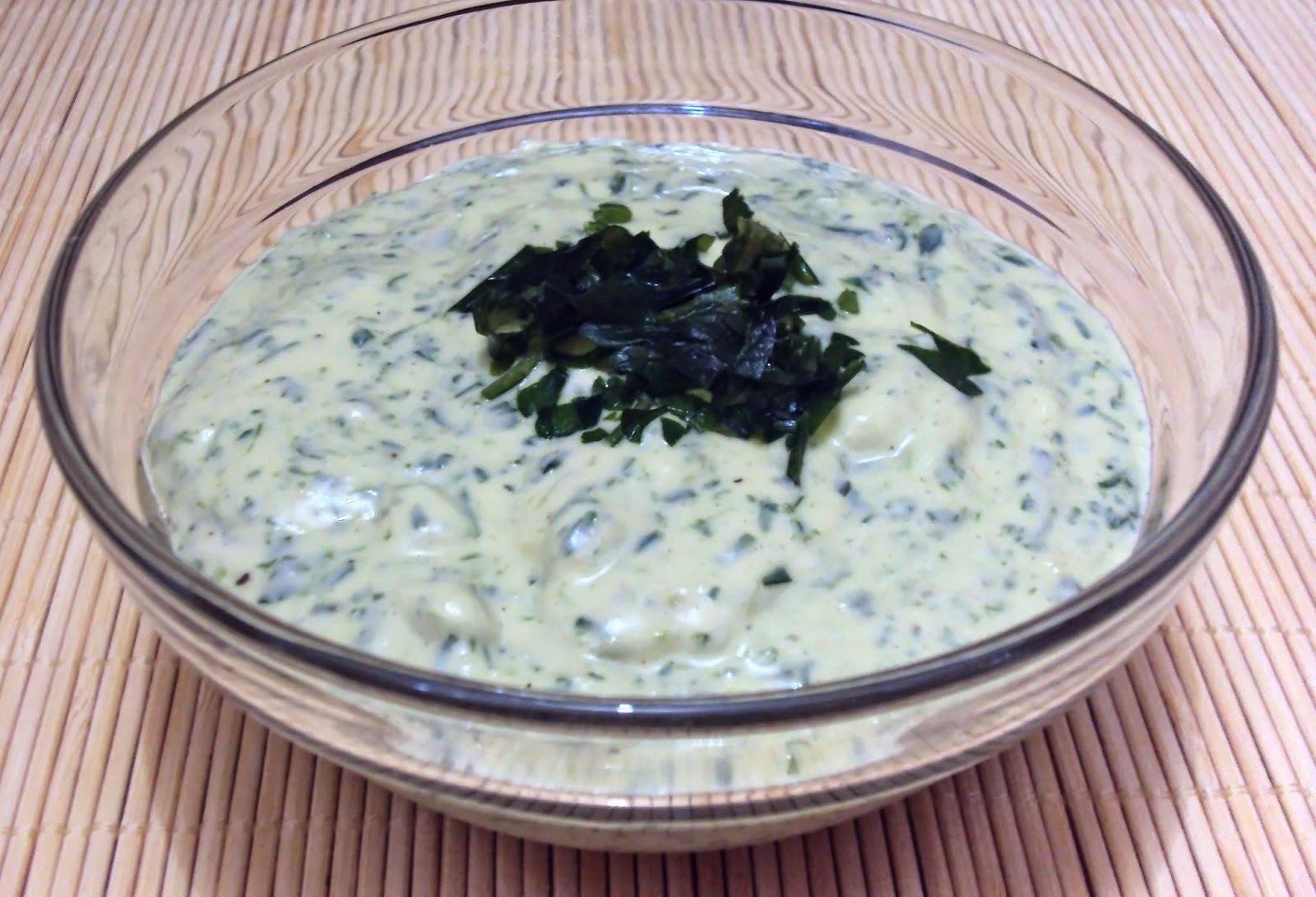 molho de maionese com alho e cheiro verde