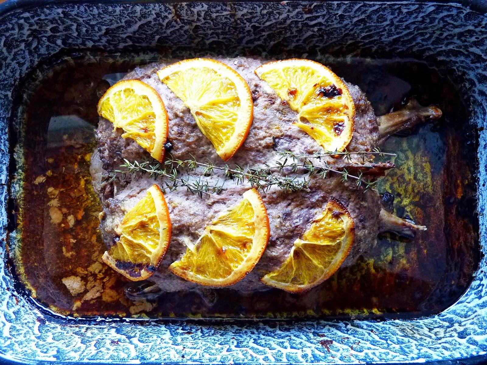 Narancsos vagdalt libamell csicsókapürével, birsalmakompóttal