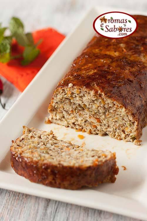 Bolo de carne de frango com chia e linhaça - gastronomia funcional