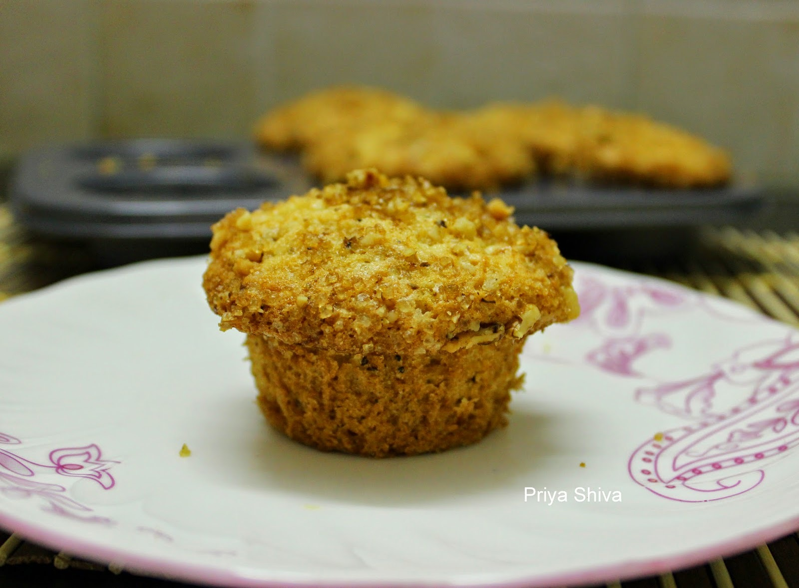 Eggless Apple and Cherry Streusal Muffin / Eggless Streusal Muffin