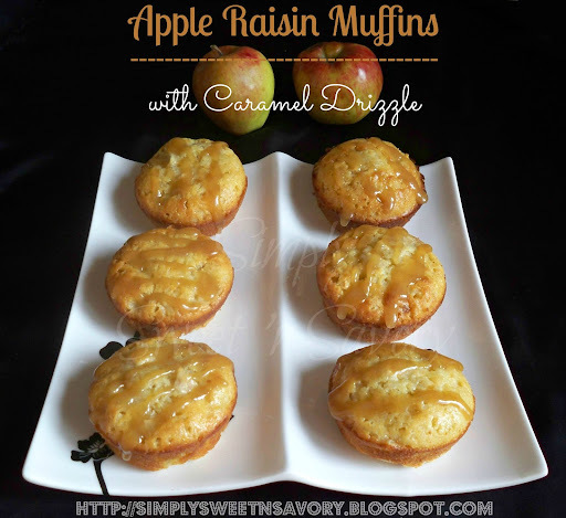 Apple Raisin Muffins with Caramel Drizzle