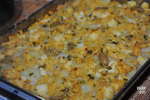 torta de bacalhau com palmito e batatas