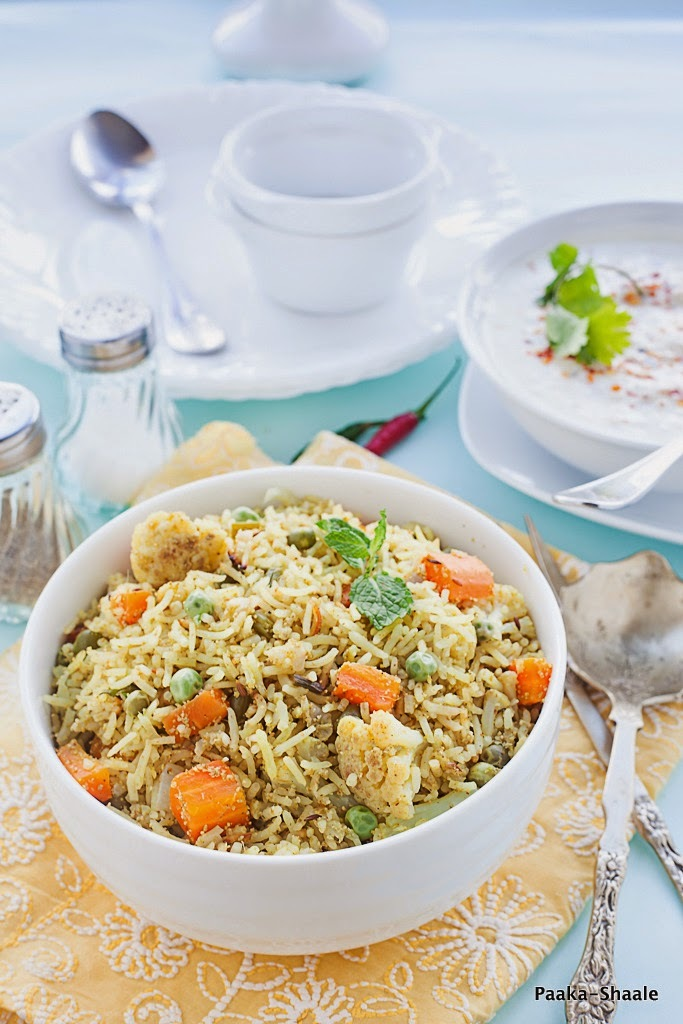 South Indian Style vegetable Pulao with Radish Raita