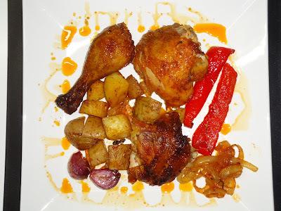 frango assada no forno inteiro com batatas