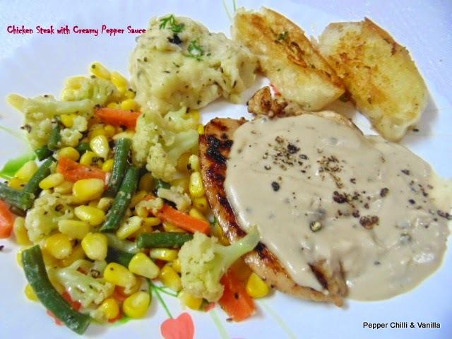 Chicken Steak with Creamy Pepper Sauce.