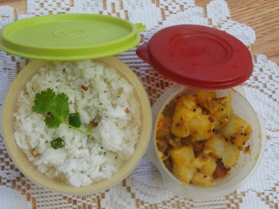 Lunch box recipes /Coconut rice and Potato fry
