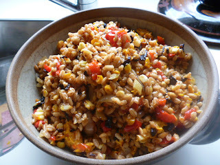 The thing about salads. .farro and quinoa