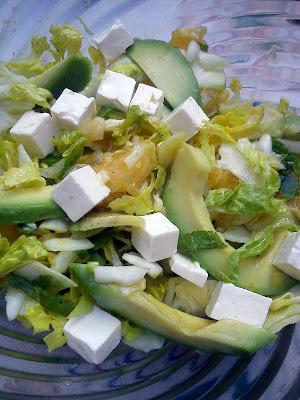 Avocado, appelsin salat