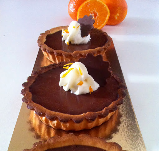 Tartelettes chocolat - clémentine et ... chantilly au Grand Marnier