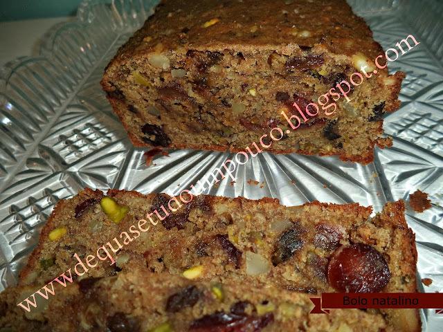 bolo de natal com açúcar mascavo frutas secas