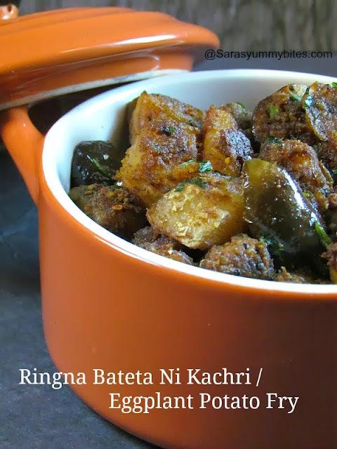 Ringna Bateta Ni Kachri  / Eggplant Potato Fry - A Tribute To Tarla Dalal