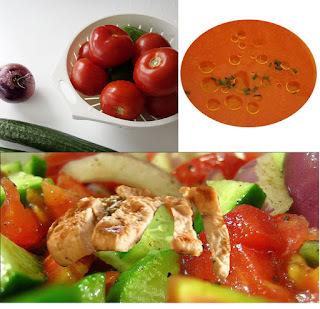 Recette de salade composée au poulet grillé, légumes d'été et son gaspacho (sans gluten)