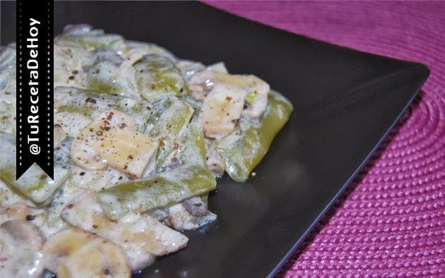 Judías verdes con champiñones en salsa de yogur