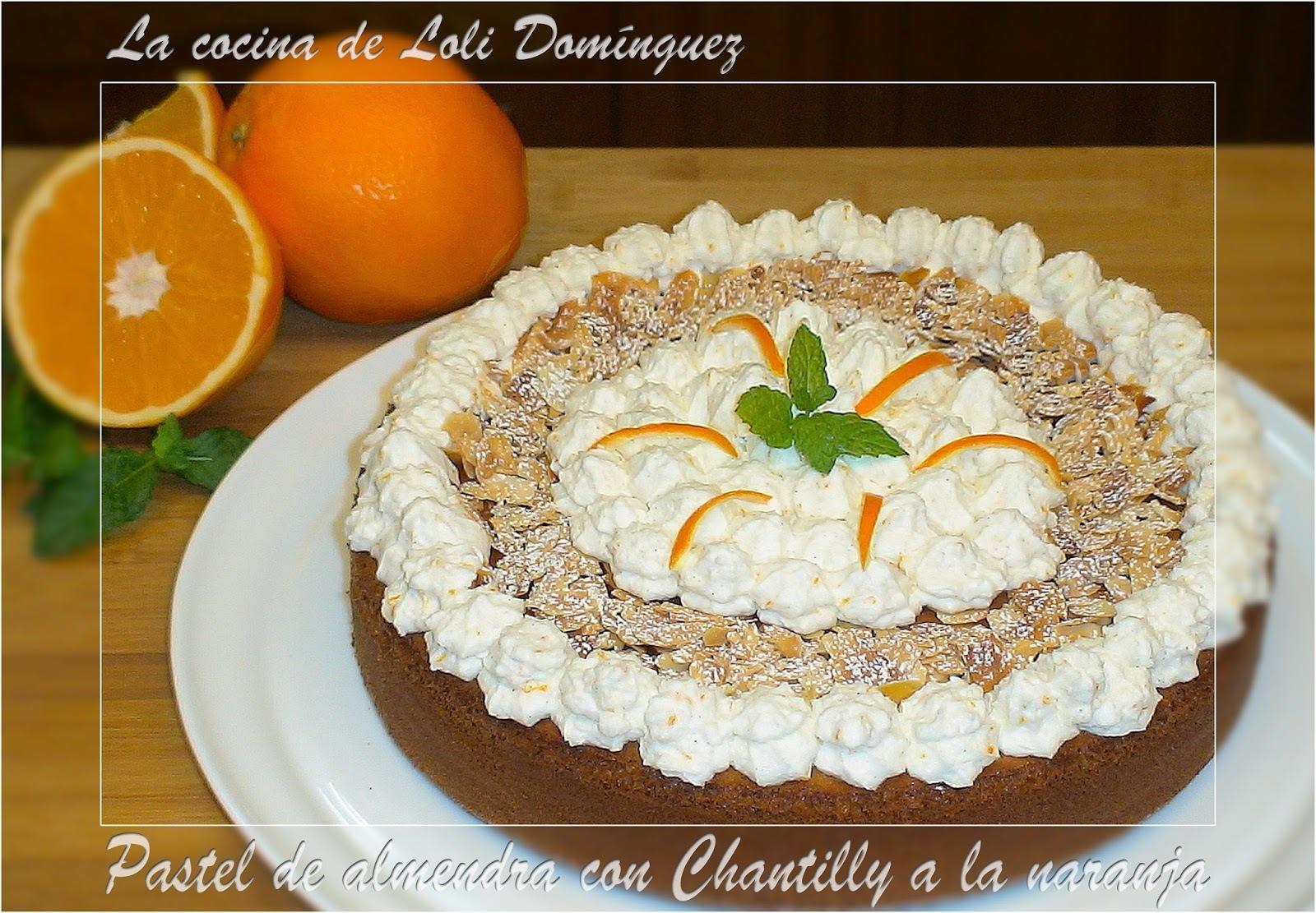 Pastel de almendra con Chantilly a la naranja