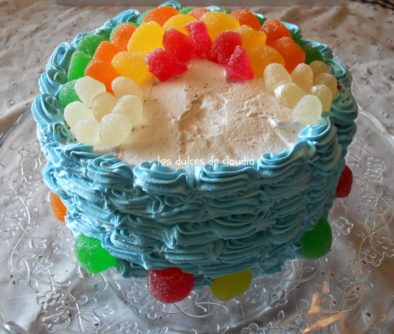 Torta arco iris con gominolas