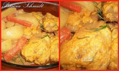 Sobrecoxas de frango com suco de laranja
