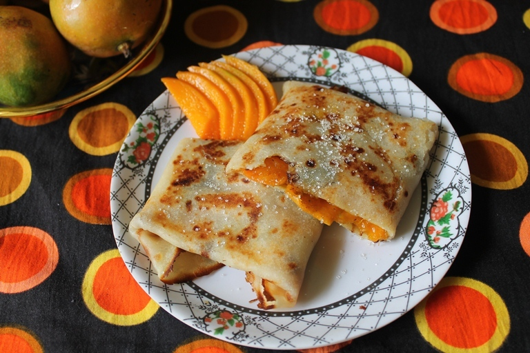Eggless Crepes with Sweet Mango Filling