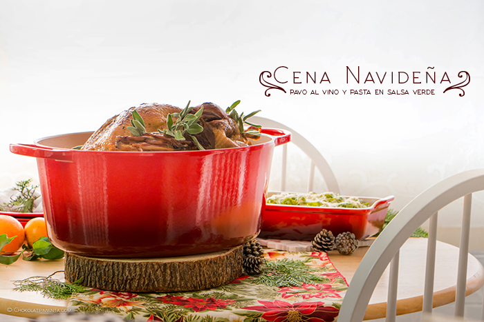 cena de navidad pavo al vino y pasta en salsa verde
