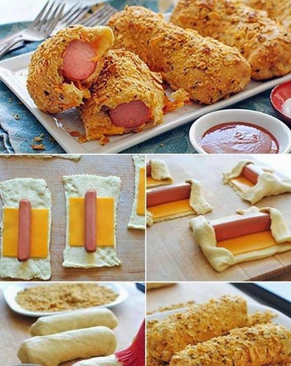 enroladinho de salsicha com tomate assado