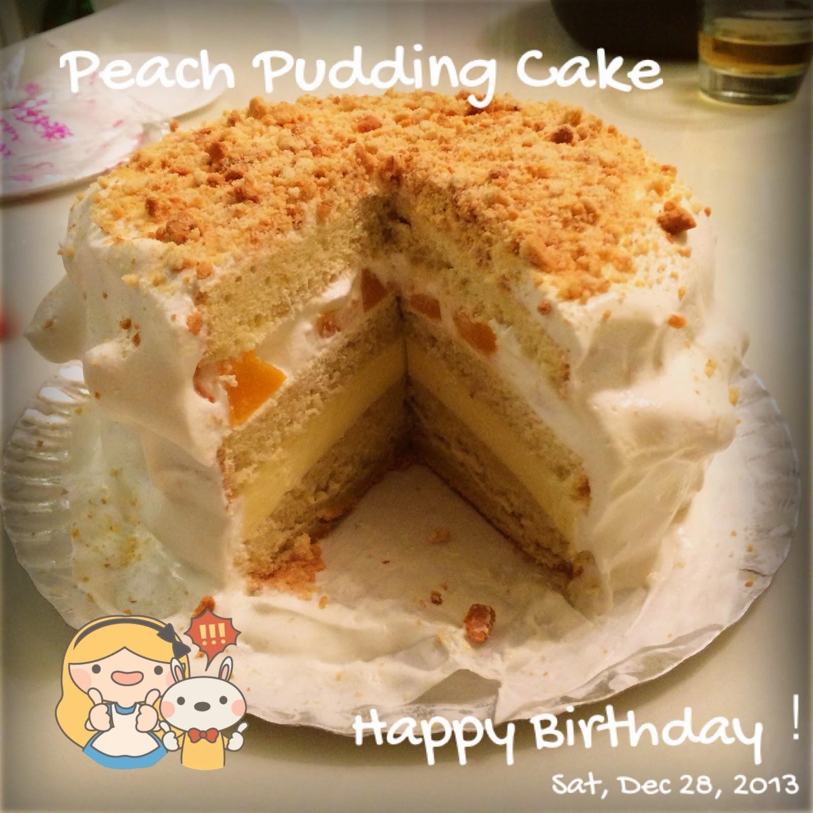 [食譜-蛋糕] 水蜜桃布丁蛋糕 - 第一次嘗試生日蛋糕