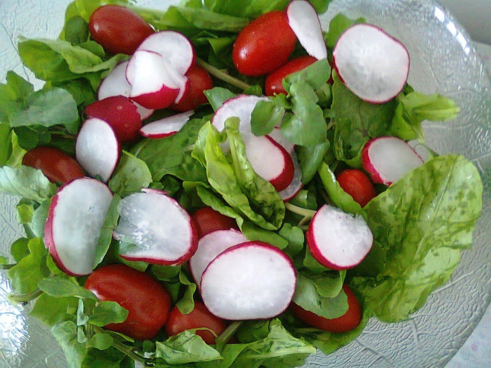 Salada Verde com Rabanete e Tomate Uva