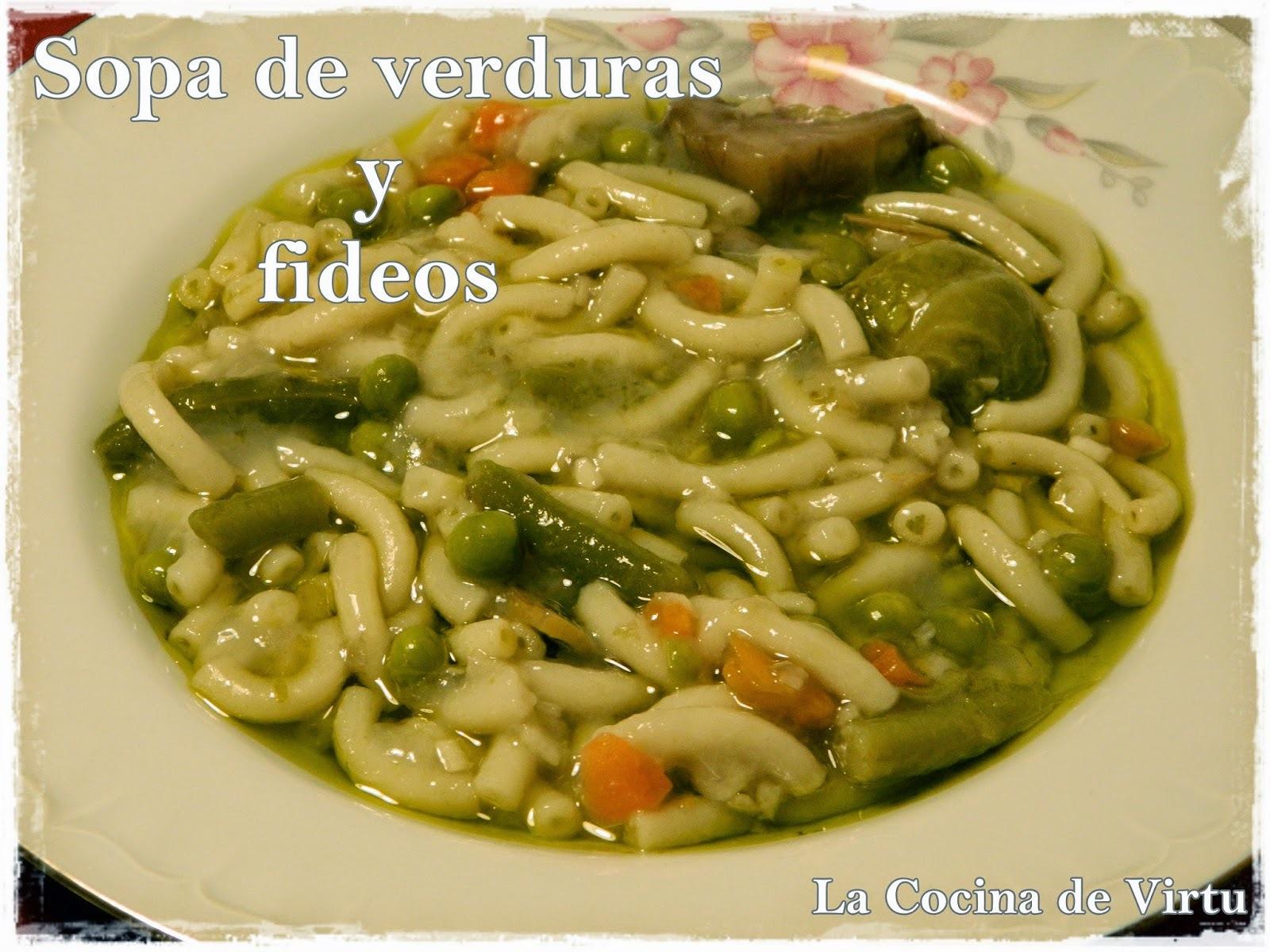 Sopa Verduras con fideos Cookeo