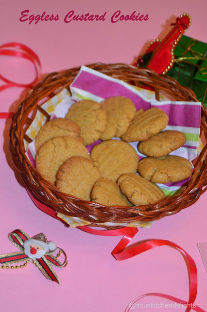 Eggless Custard Cookies/ Whole Wheat Custard Cookies