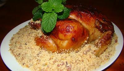 frango assado maionese farofa