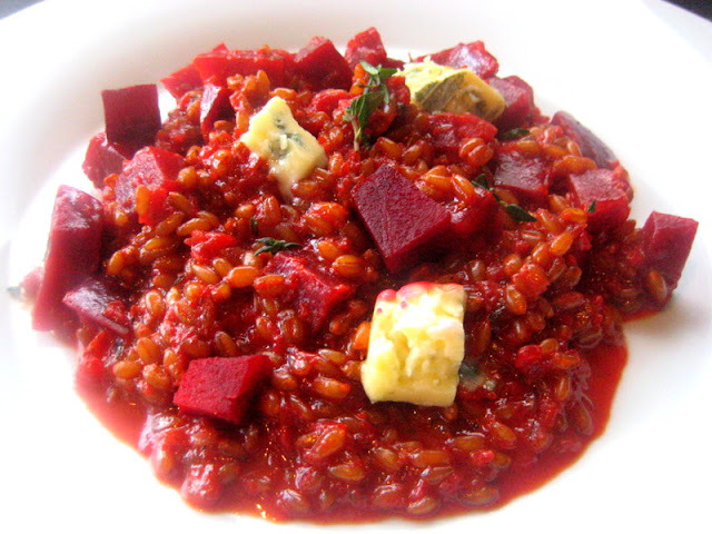 Wheat Berry Risotto with Beetroot and Blue cheese