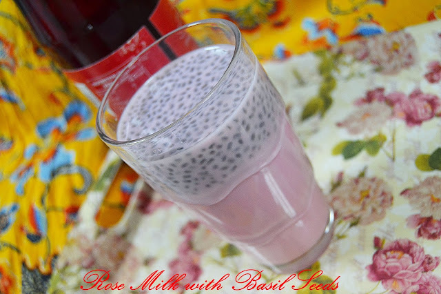 Rose Milk with Basil Seeds