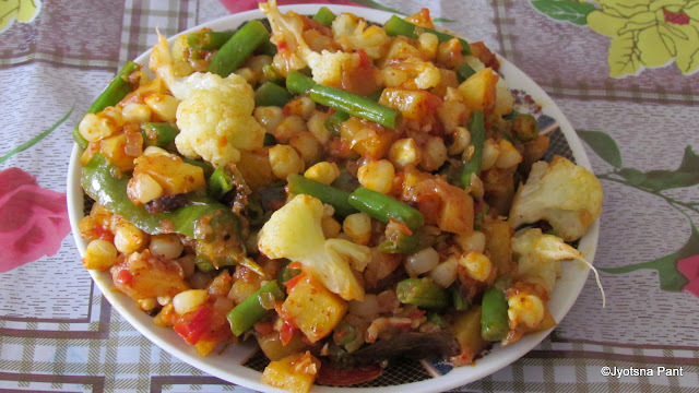 Makki Ki Sabji (Sweet corn cooked with vegetable)