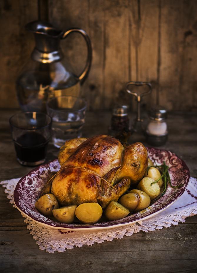 Pollo relleno sado a baja tamperatura con salsa de sidra. Receta paso a paso.