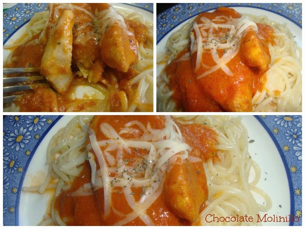 Pollo a la Marinara con Spaguetti