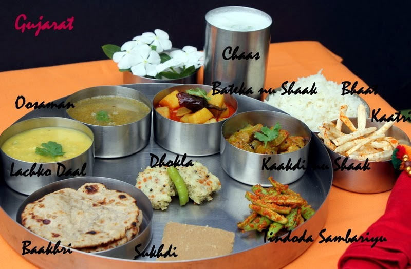 Simple Saurashtra Lunch Thali - Gujarat Special