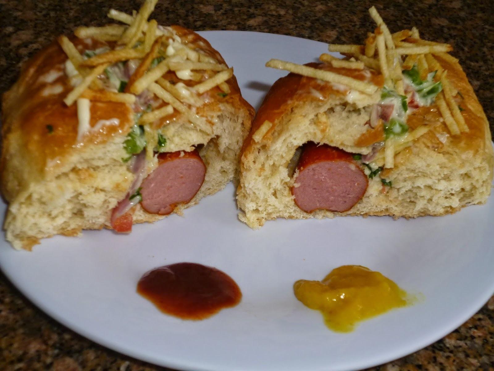 de pão caseiro recheado com hamburguer