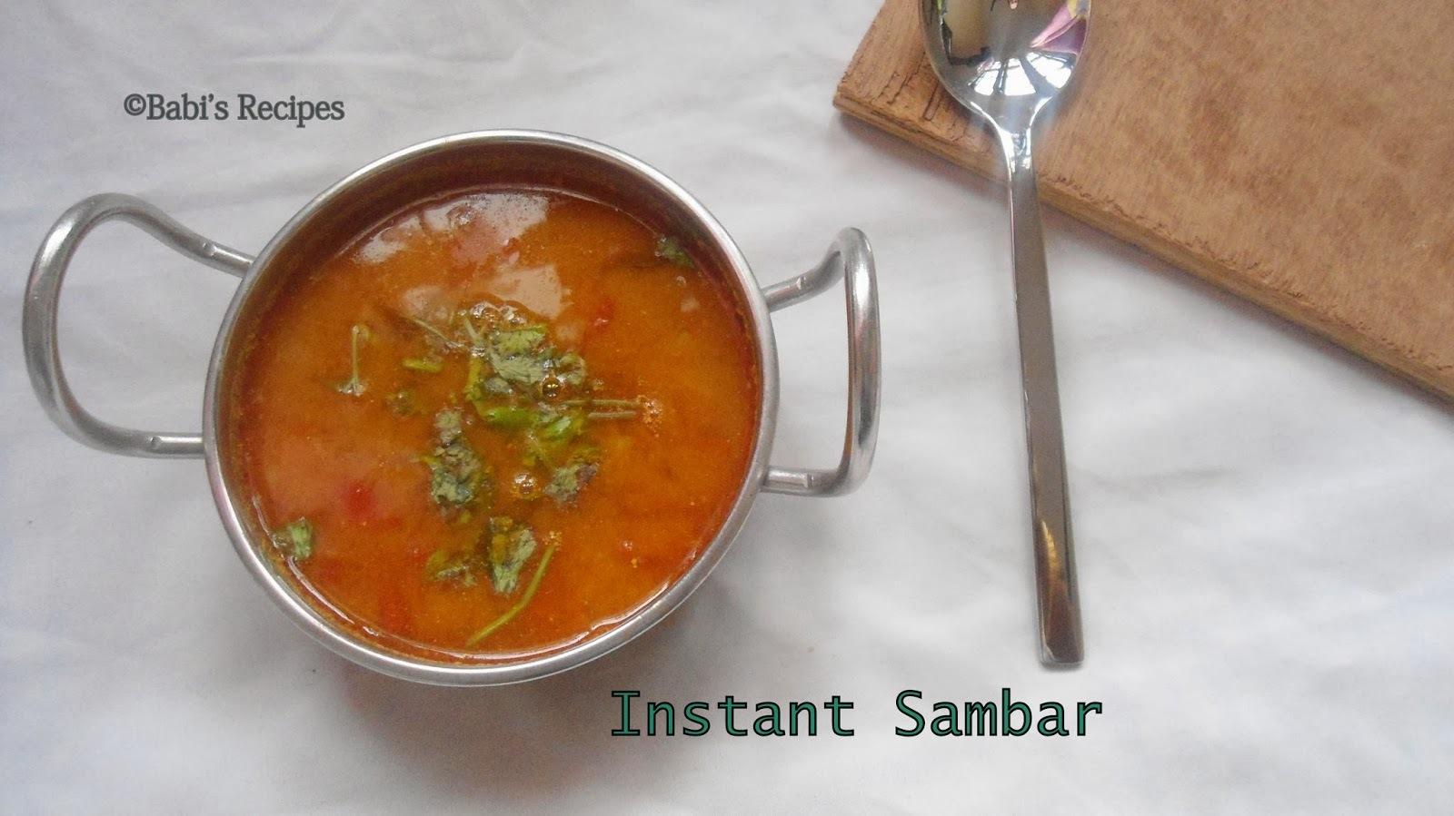 Instant Sambar | 10 minutes/ No Dal Sambar | Side dish for Idli / Dosai