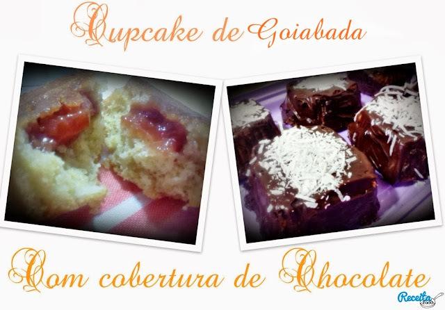 Cupcake de goiabada com cobertura de chocolate