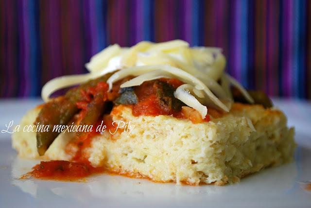 Torta de elote salada, bañada en salsa de chile poblano y jitomate asado y top ten blogs de cocina
