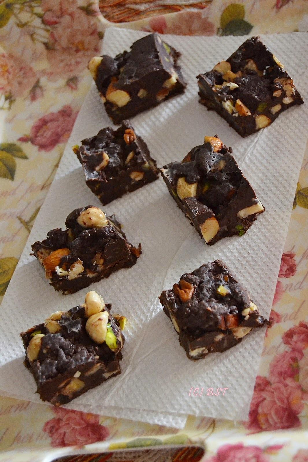 Dark Chocolate Nuts Fudge ~ The BST's Post #500!!!