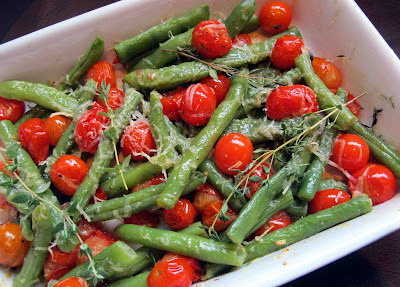Baked Cherry Tomatoes with Green Beans