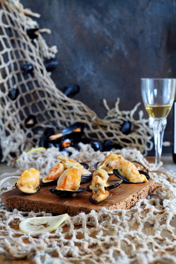 Mejillones en escabeche en tempura