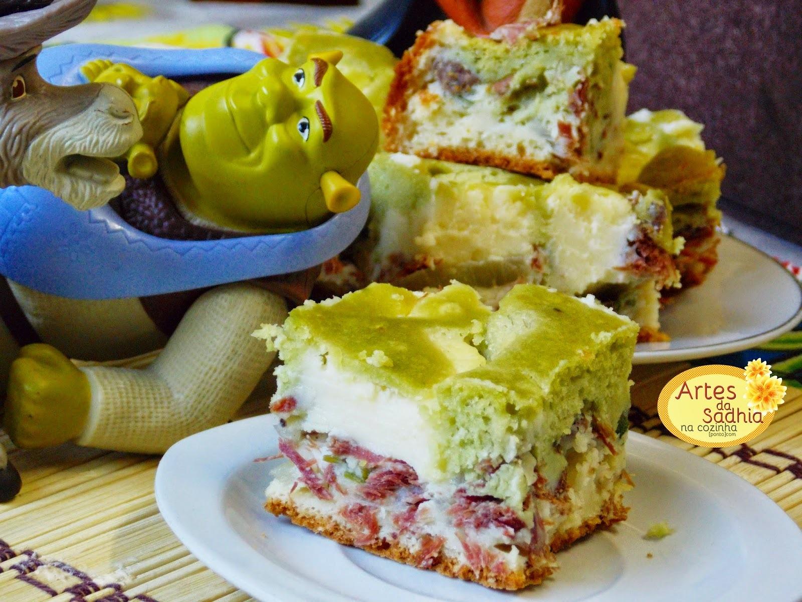 Torta de Carne Seca e Catupiry do Sherk