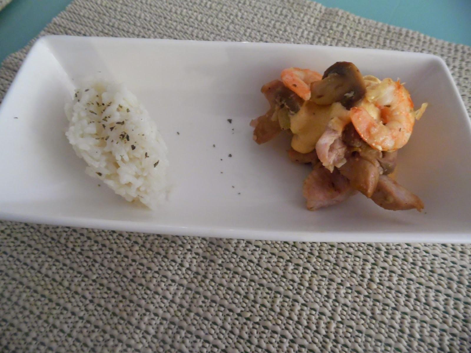Strogonoff de porco com camarão e cogumelos