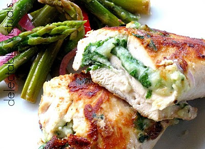 Chicken Breasts Stuffed with Mustard Greens and Bergenost Cheese